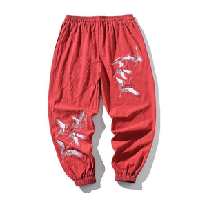 "Club Giv ""Soaring Crane"" Embroidered Joggers"