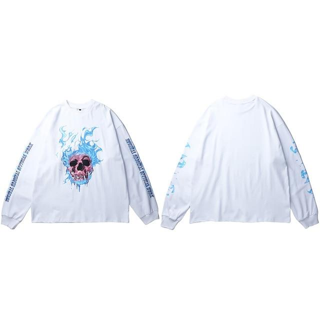 "Club Giv ""Flaming Skull"" Long Sleeve Tee - Multiple Colors"