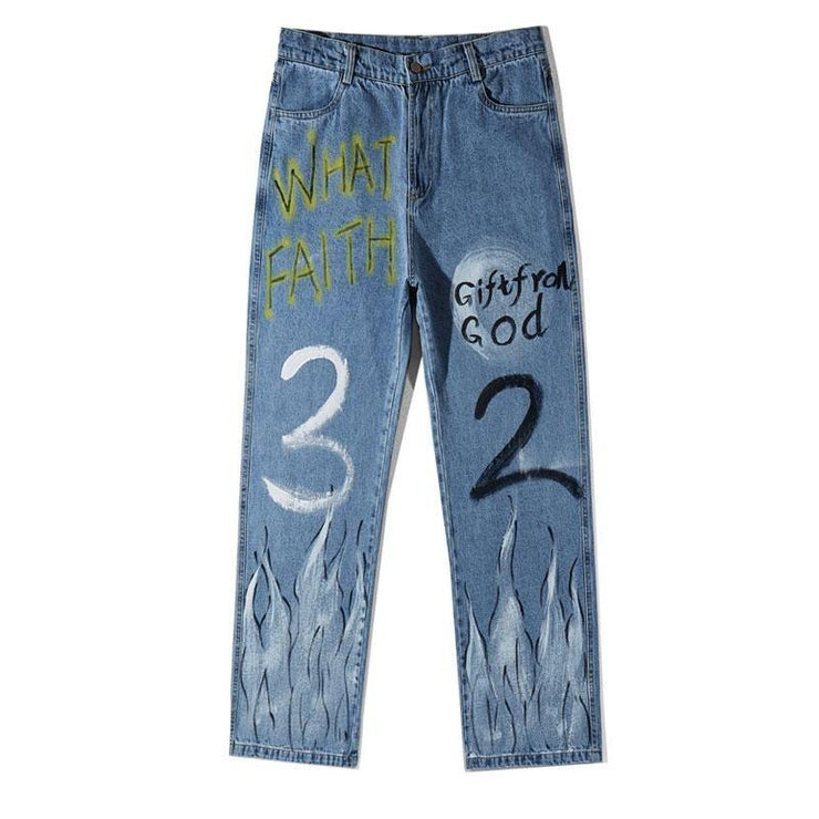 "Club Giv ""Faith"" Graffiti Jeans"