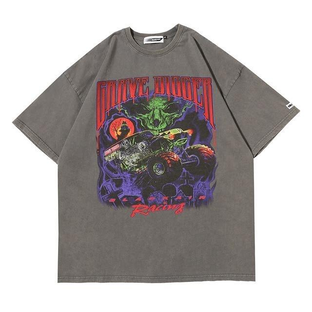 "Club Giv ""Grave Digger"" Distressed Tee - Multiple Colors"