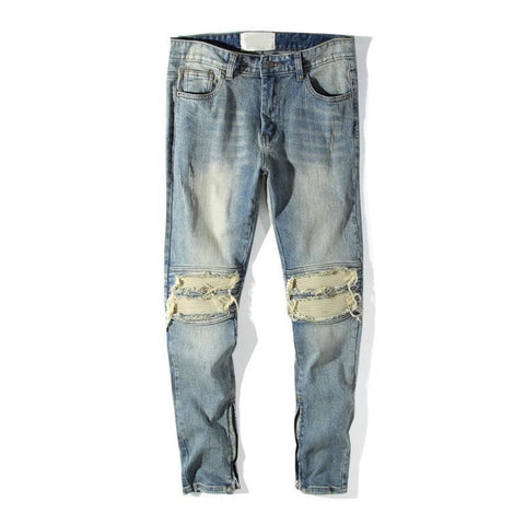 "Club Giv ""Milan"" Destroyer Zipper Jeans - Light Blue"
