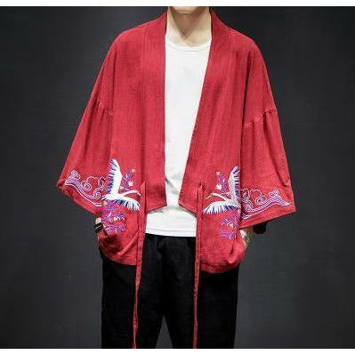 "Club Giv ""Soaring Crane"" Embroidered Kimono Jacket - Multiple Colors"