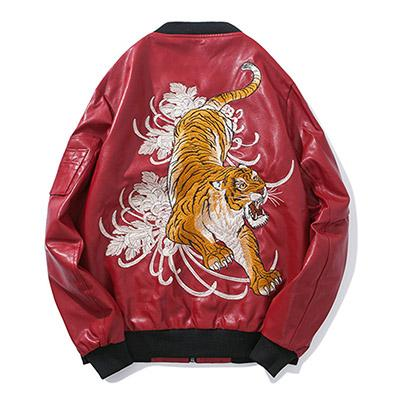 "Club Giv ""Crouching Tiger"" Embroidered Faux Leather Bomber Jacket"