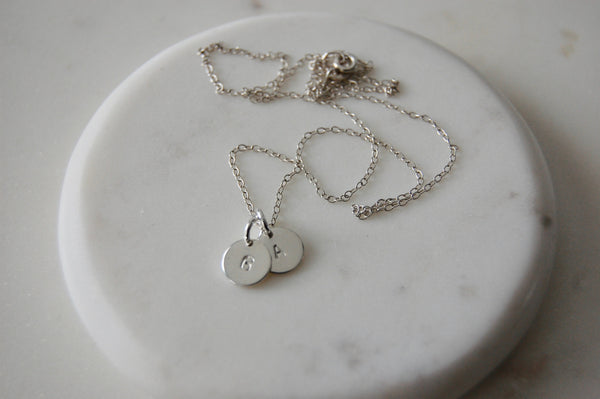 Hand stamped Initial Necklace, Custom