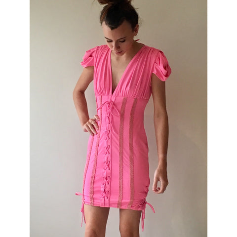 Hot Pink Lace up Dress