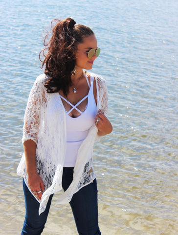 White Florencia Lace Jacket - Purity Lace Designs