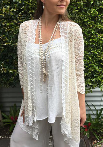 Lace on Lace sheer wedding bridal fashion jacket