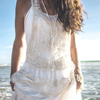 Lacey Cream Frill Top