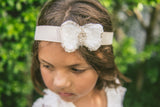 white gold bow pretty vintage boho baby