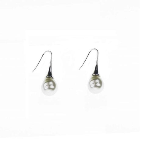 Cream Drop Pearl Rhodium Silver Earrings | Purity Lace Designs