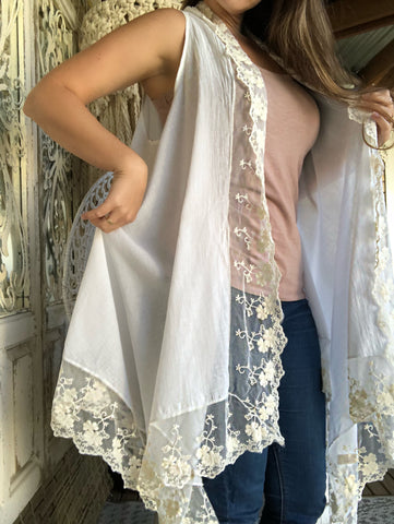 Macie Lace White Vest with Cream Lace - Purity Lace Designs