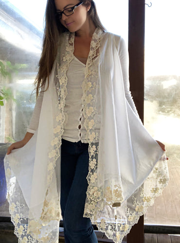 Macie Lace White Vest with Cream Lace