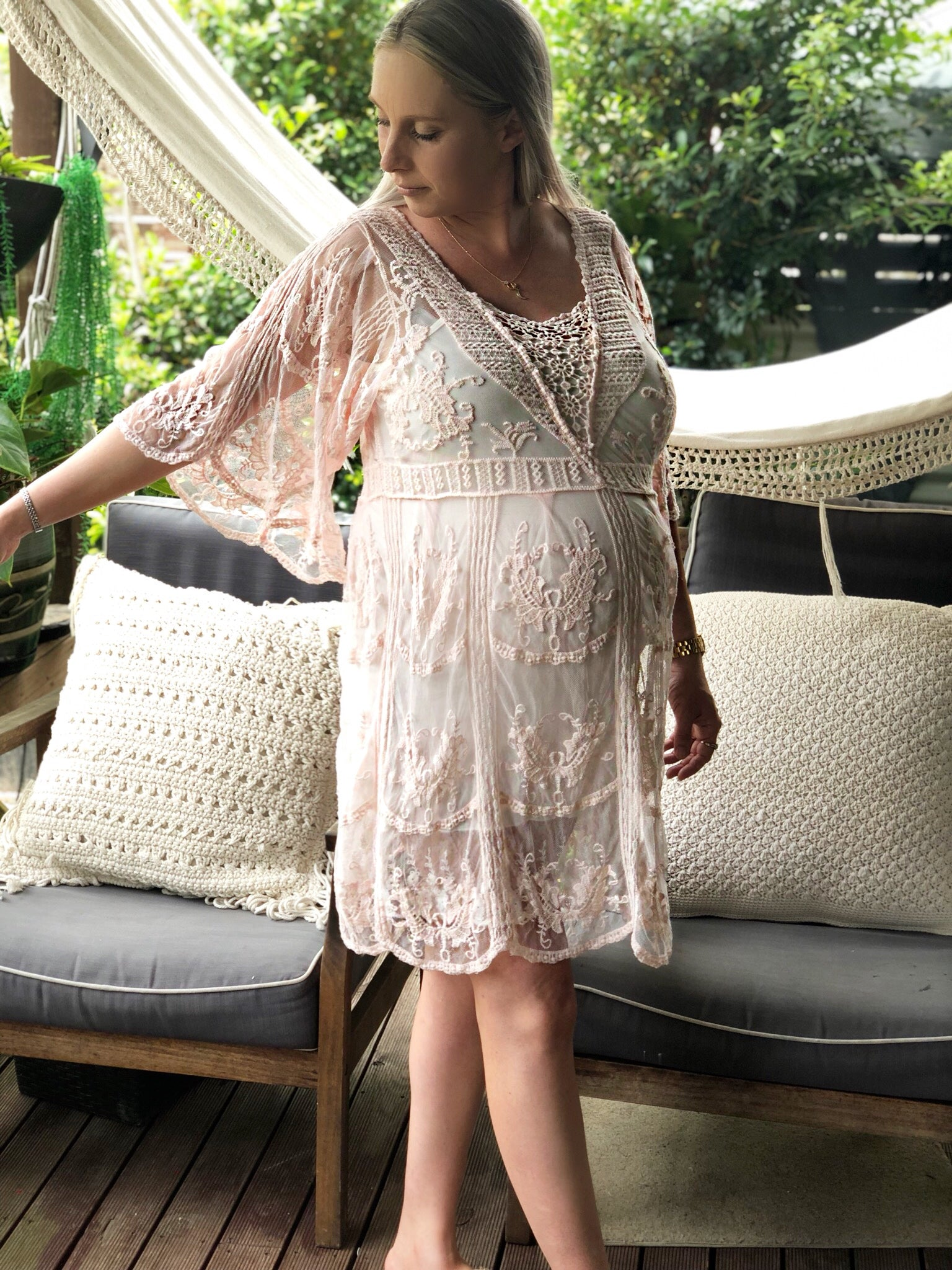 Maternity Pink Doll dress - Purity Lace Designs
