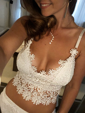 Romy Lace White Bralette Top - Purity Lace Designs