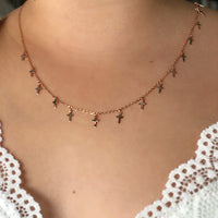 14K Rose Gold Tiny Crosses Necklace