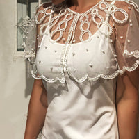 White Pearl Lace Shoulder Cape