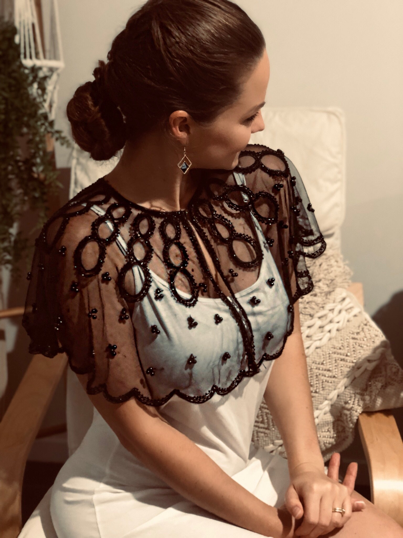 Black Pearl Lace Shoulder Cape - Purity Lace Designs