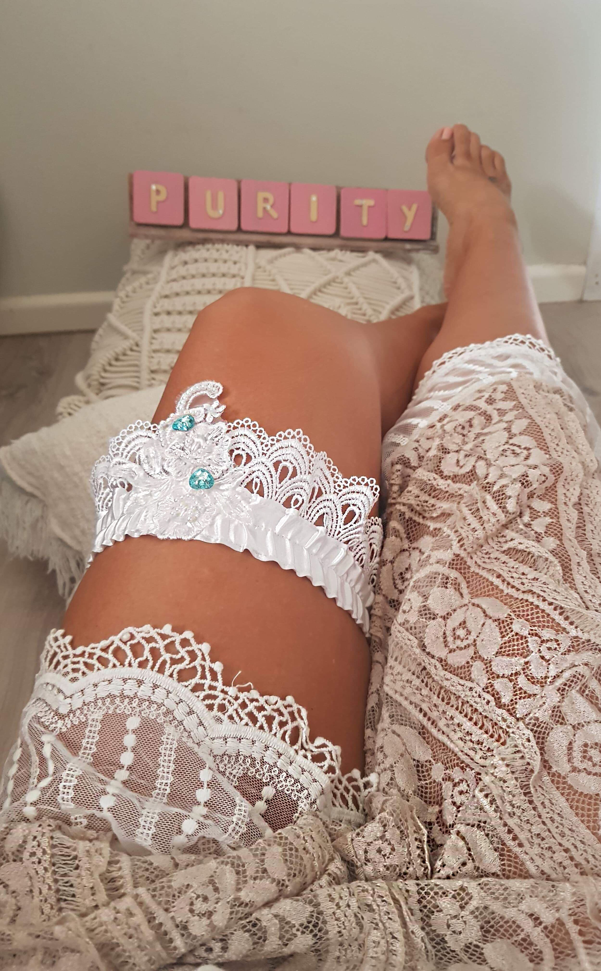 White Handmade Garter - Purity Lace Designs