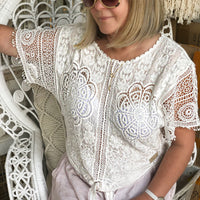 Hollie Tie Top White