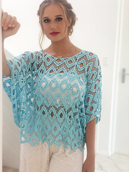 Diamonds Ablaze Blouse Blue