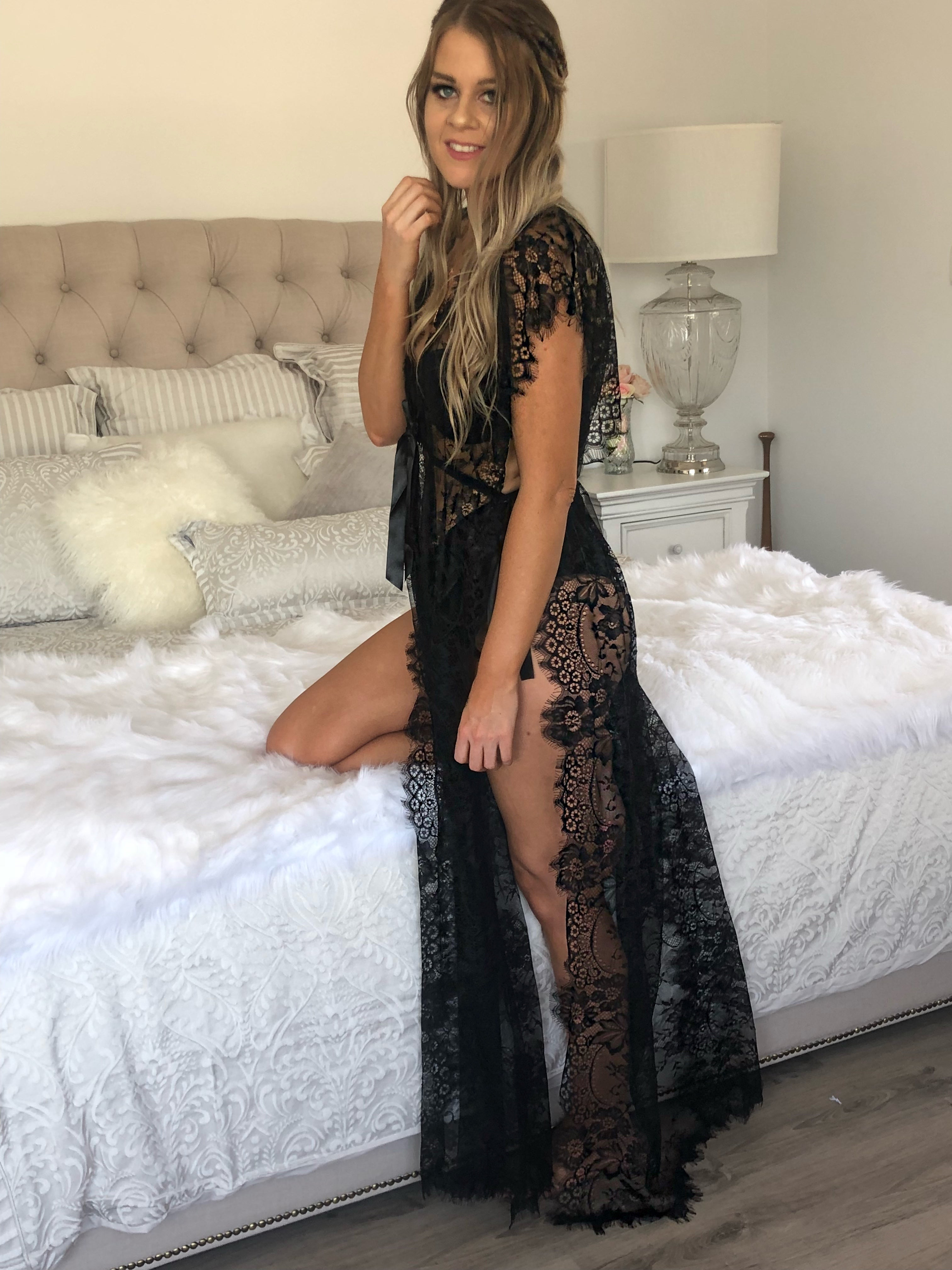 Flirty Split Nightie Black - Purity Lace Designs