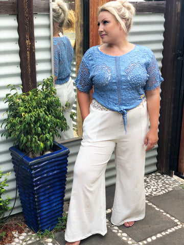 Sail Away Pants with separate sash. - Purity Lace Designs
