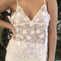 Dainty Flower Cream Lace Cami