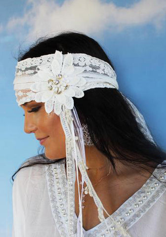 Gatsby Headband White with Bling