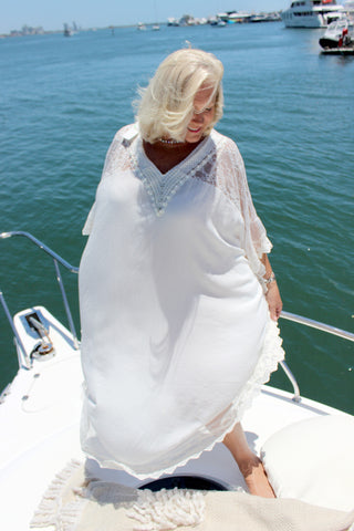 white lace Kaftan with pearls