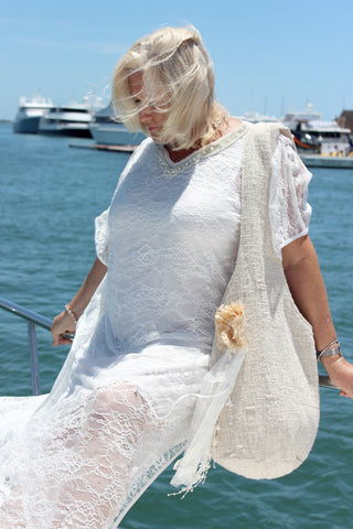 Esther White Curvy Caftan - Purity Lace Designs