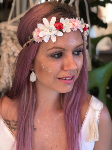 Blushing Daisy Flower Crown - Purity Lace Designs