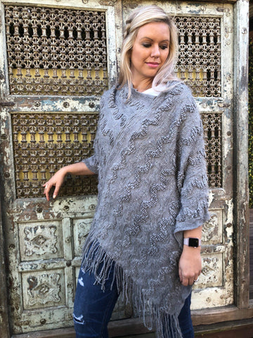 Mystery Grey Poncho - Purity Lace Designs