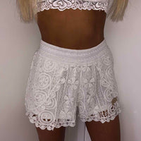 White Crochet Lace Shorts