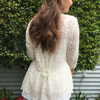 Belgium Lace Jacket White Trim