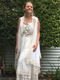 bridal white lace vest in white cotton