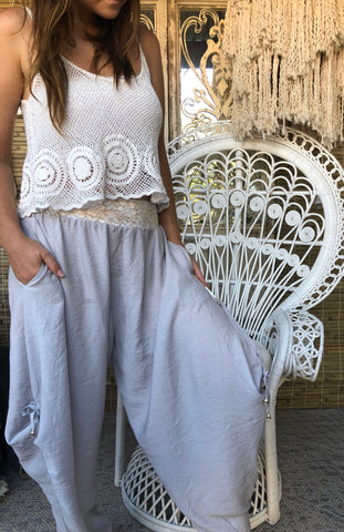 Genie Pants Grey - Purity Lace Designs