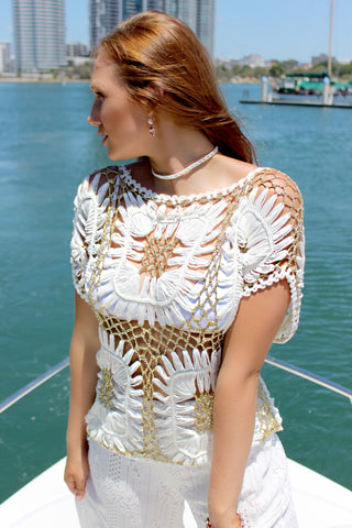 Gold greek style Italian cotton top