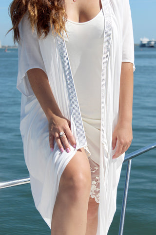 Olivia White Kaftan with diamontes
