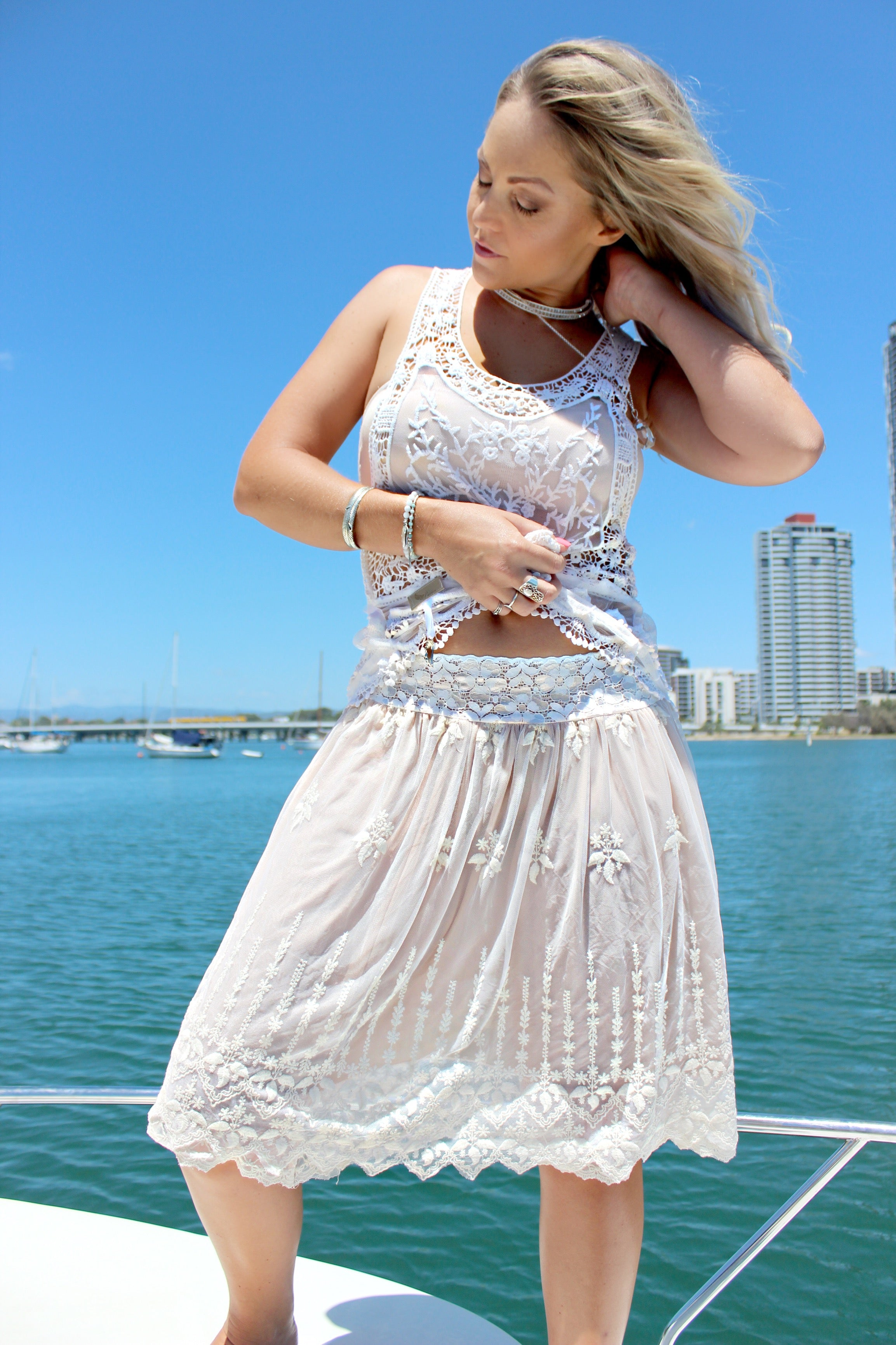 White Lacey Lace Frill Top