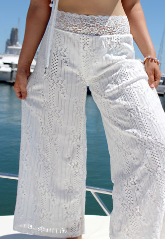 Amalfi White Lace Pants