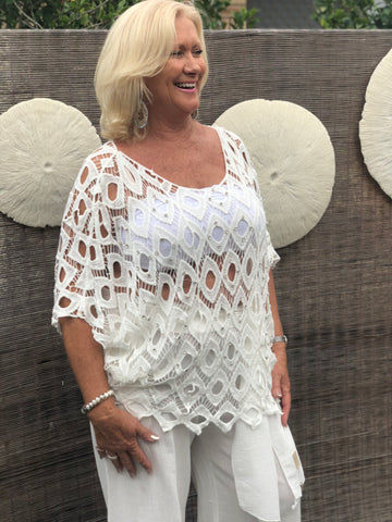Diamonds Ablaze Blouse White - Purity Lace Designs