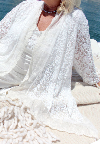 Italian Romance White Lace Jacket