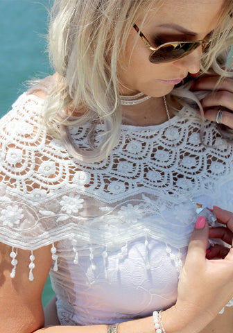 White Lace Shoulder Cape - Purity Lace Designs