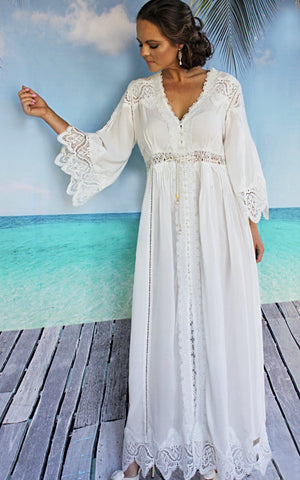 Moroccan Lace White Dress - Purity Lace Designs