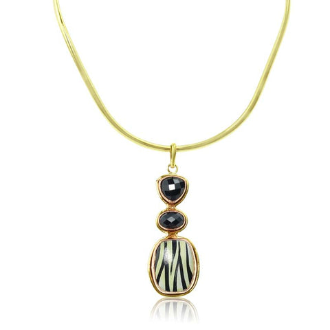 3 piece Zebra Onyx Necklace Semi Precious pendant drop Gold | Purity Lace Designs