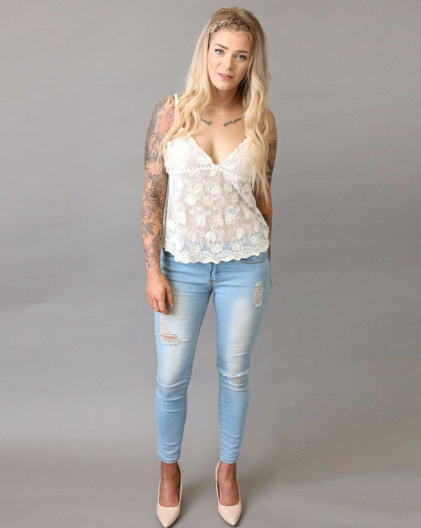 Dainty Flower Cream Lace Cami - Purity Lace Designs