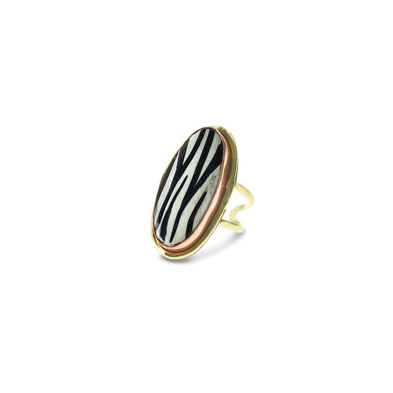 Zebra Stone Gold Ring- adjustable | Purity Lace Designs