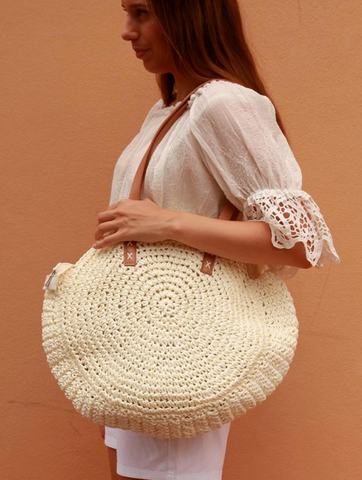 Gypsy Tote Cream Round Handbag | Purity Lace Designs