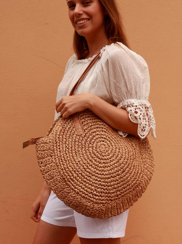 Coco Tote Tan Round Handbag | Purity Lace Designs