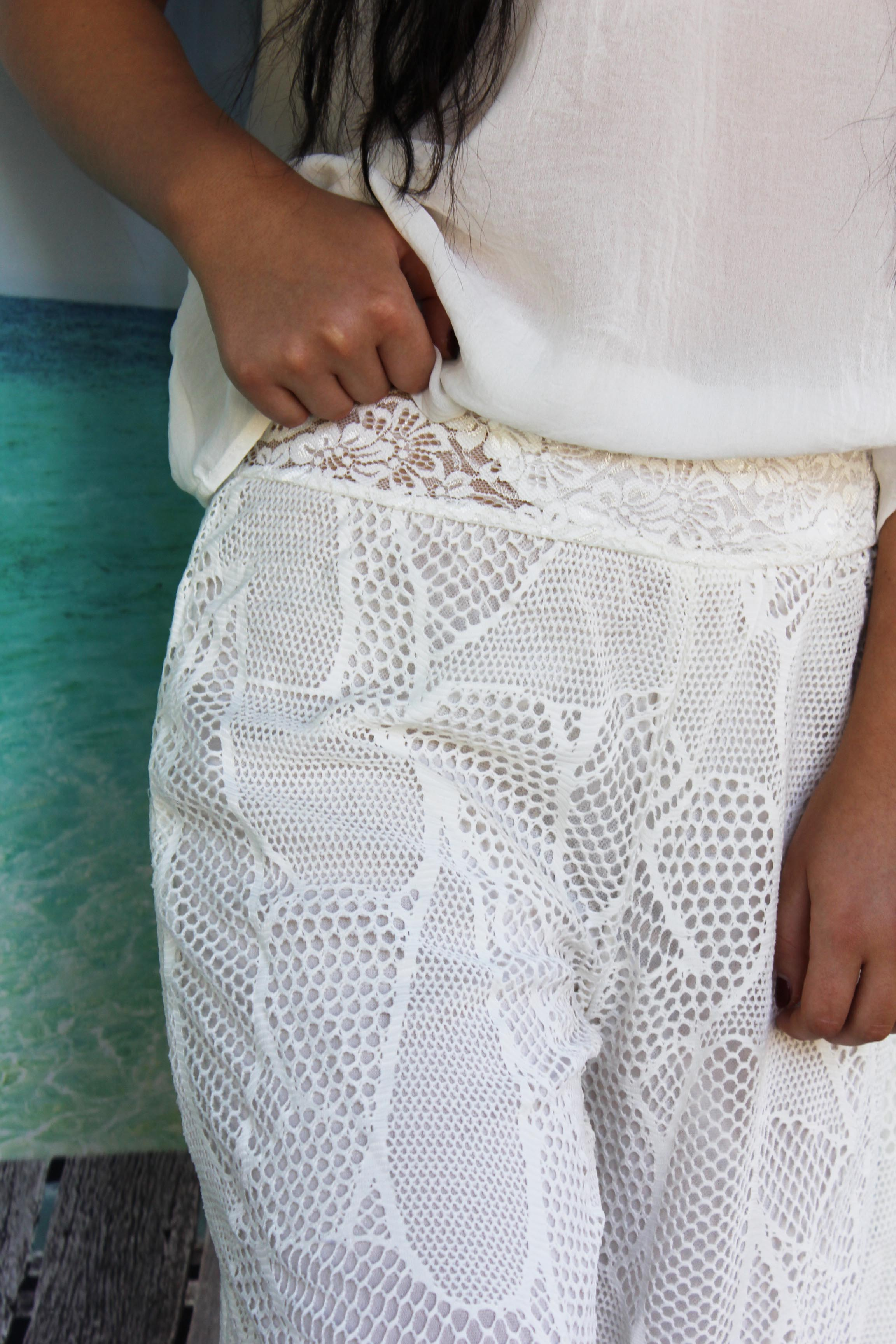 Boho White Lace Pants